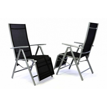 2 ks skládací polohovací venkovní židle s textilním výpletem