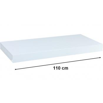 Nástěnná polička s levitujícím efektem, bílá dýha, 110 cm