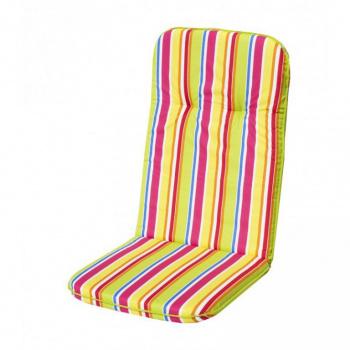 Barevné polstrování na židli s vysokým opěradlem, pruhované