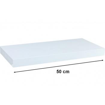 Nástěnná polička s levitujícím efektem lesklá bílá, 50 cm
