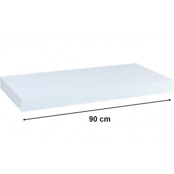 Nástěnná polička s levitujícím efektem lesklá bílá, 90 cm