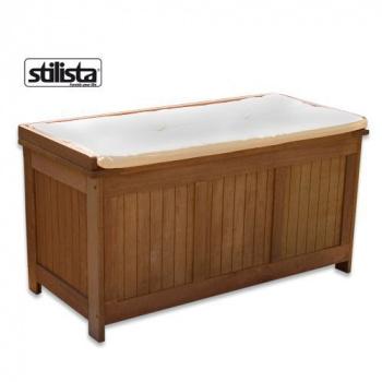 Zahradní úložný box / sedací lavice s polstrováním, tvrdé exotické dřevo