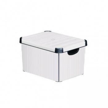 Plastový box pro uskladnění věcí s víkem, velký, světle šedá + pruhy
