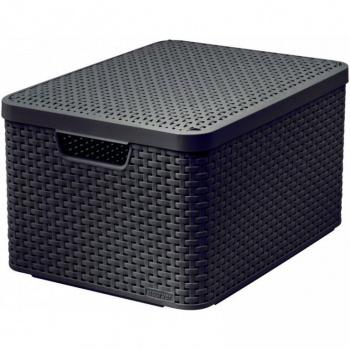 Designový úložný box s ratanovým vzhledem velký, hnědý