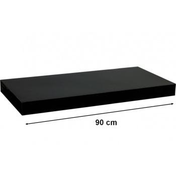 Nástěnná polička s levitujícím efektem, černá lesklá, 90 cm