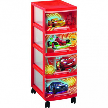 Plastová skříňka s kolečky do dětského pokoje - potisk auta, 67,5 cm