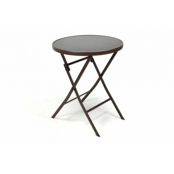Menší venkovní skládací stolek - kulatý, ocel / sklo