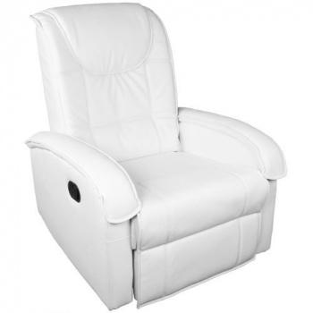 Relaxační televizní křeslo s výklopnou podložkou pod nohy, bílé