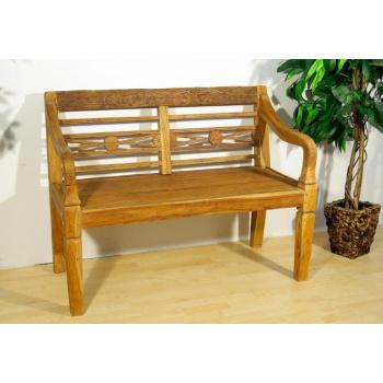 Zahradní dřevěná lavice z masivu, historický vzhled, 116 cm