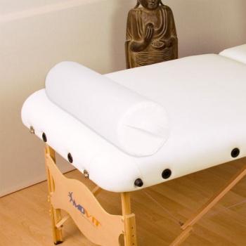 Polštář ve tvaru válce k masážním stolům, kožený potah, bílý