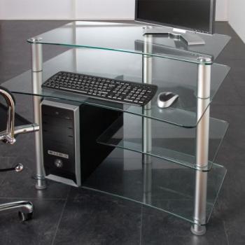 Elegantní kancelářský stůl se skleněnými deskami, hliníkové nohy