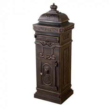 Ozdobná hliníková poštovní schránka ve starožitném designu 102,5 cm