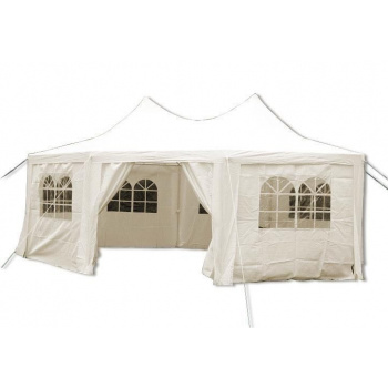 Zahradní párty stan 4,4 x 3,3 m vč. bočních stěn s okny, krémový