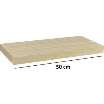 Nástěnná polička s levitujícím efektem, světlý dřevodekor, 50 cm