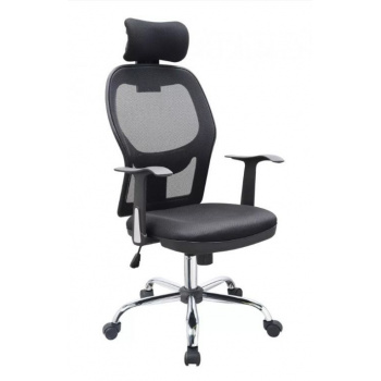 Otočná kancelářská židle s opěrkou hlavy a prodyšným opěradlem, černá