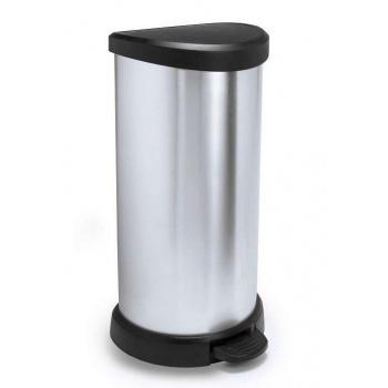 Vysoký odpadkový koš do kuchyně 40 l, pedálový, stříbrná / černá