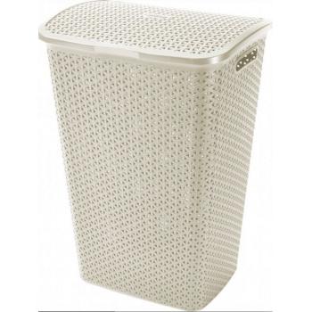 Vysoký prádelní koš s víkem 55 l, otvory pro proudění vzduchu, krémový