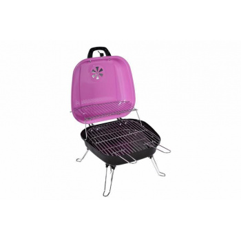 Malý přenosný kufříkový gril, růžový