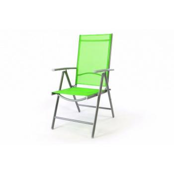 Hliníková venkovní židle s prodyšným sedákem a opěradlem, zelená