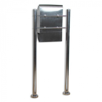 Nerezová poštovní schránka na stojanu, vhodná i pro firmy, 126 cm