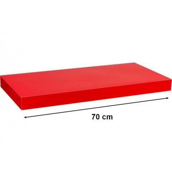 Nástěnná polička s levitujícím efektem lesklá červená, 70 cm