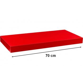 Nástěnná polička s levitujícím efektem červená, 70 cm