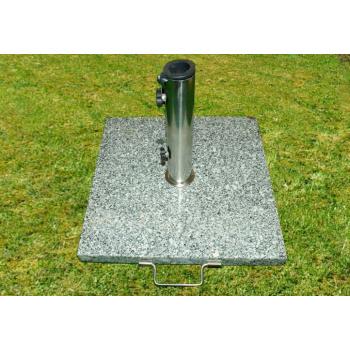 Čtvercový stojan na slunečníky s držadlem 25 kg, žula / nerez