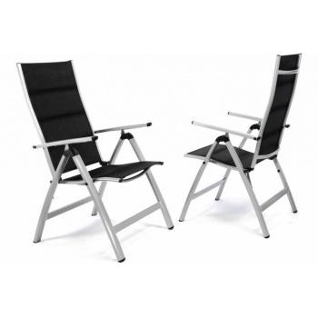 2 ks kovová skládací židle s prodyšnou textilní výplní