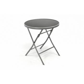 Skládací kulatý stolek na balkony, terasy, ocelový rám / skleněná deska