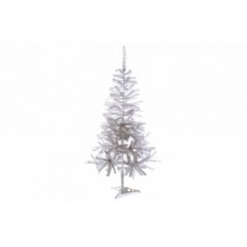 Bílý vánoční umělý stromek se stojanem, třpitivý, 150 cm