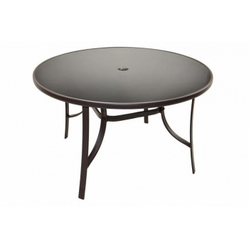 Zahradní kulatý stolek, kovový rám / skleněná horní deska, Ø 120 cm