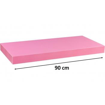 Nástěnná polička s levitujícím efektem růžová, 90 cm