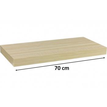 Nástěnná polička s levitujícím efektem, světlý dřevodekor, 70 cm
