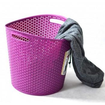 Prodyšný koš na prádlo s otvory ve výpletu 30 l, fialový