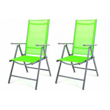 2 ks hliníková zahradní židle s textilním opěradem, zelená