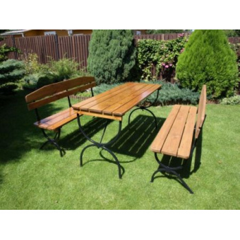 Set zahradního nábytku, 2 lavice + stůl, kov / dřevo
