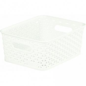 Plastový úložný košík na drobnosti- malý, krémový