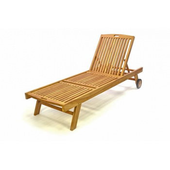 Dřevěné zahradní lehátko s kolečky, sklopné opěradlo