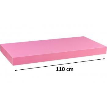 Nástěnná polička s levitujícím efektem růžová, 110 cm