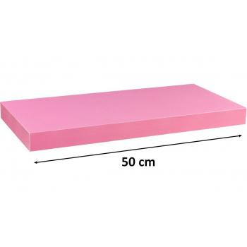 Nástěnná polička s levitujícím efektem růžová, 50 cm