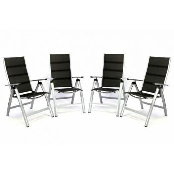 4 ks zahradní hliníková židle s textilním polstrováním, polohovací opěrka