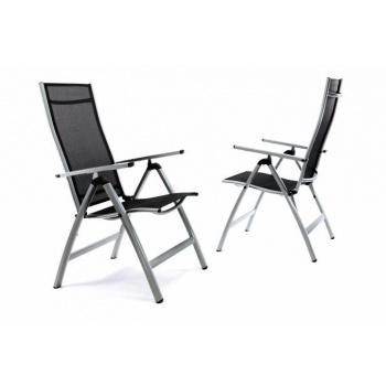 2 ks lehká elegantní zahradní židle s hliníkovým rámem, textilní potah