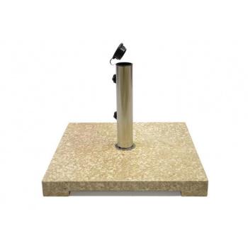 Čtvercový stojan na slunečník do 2,5 m, leštěný mramor, krémový