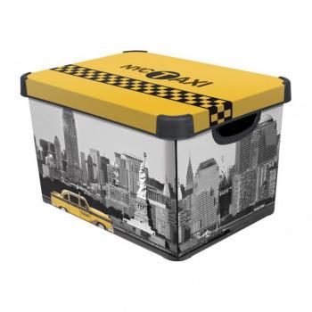 Plastová krabice s víkem pro uložení věcí, velká, potisk New York