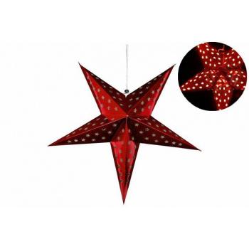 Vánoční svítící hvězda závěsná, automatické rozsvěcení, 60 cm, červená