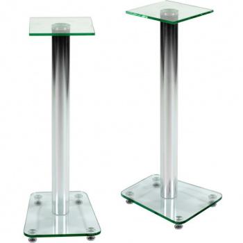 2 ks ozdobných stojanů na reproduktory, sklo / hliník, 70 cm
