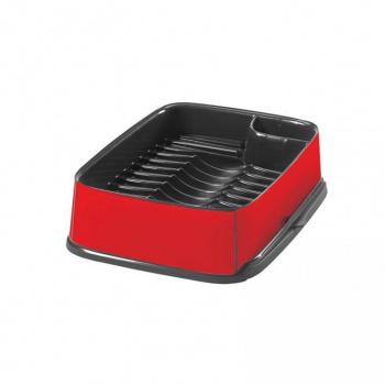 Designový odkapávač na nádobí s výsuvnou částí, červená / černá