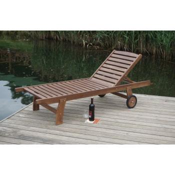 Elegantní relaxační dřevěné lehátko, polohovací, lakovaná borovice