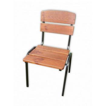 Zahradní stohovatelná židle, kovový rám / dřevěný sedák a opěradlo