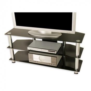 Moderní designový TV stolek, skleněné police